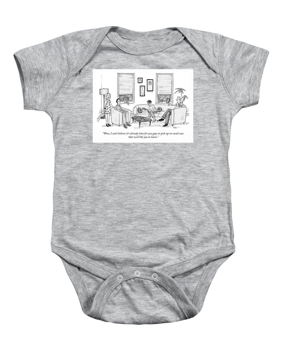 """""""wow Baby Onesie featuring the drawing Social Cues by Teresa Burns Parkhurst"""