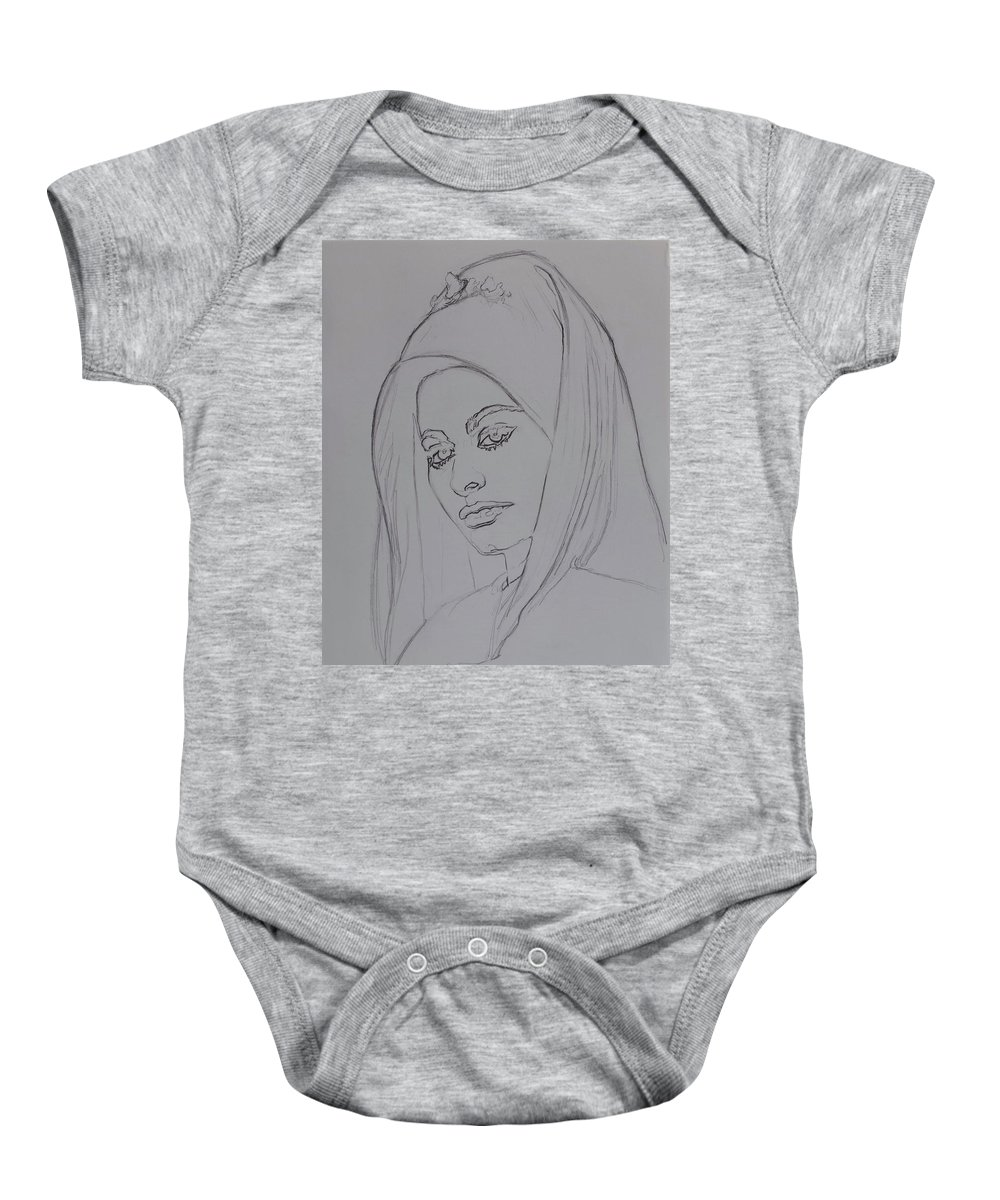 Woman Baby Onesie featuring the drawing Sophia Loren In Headdress by Sean Connolly