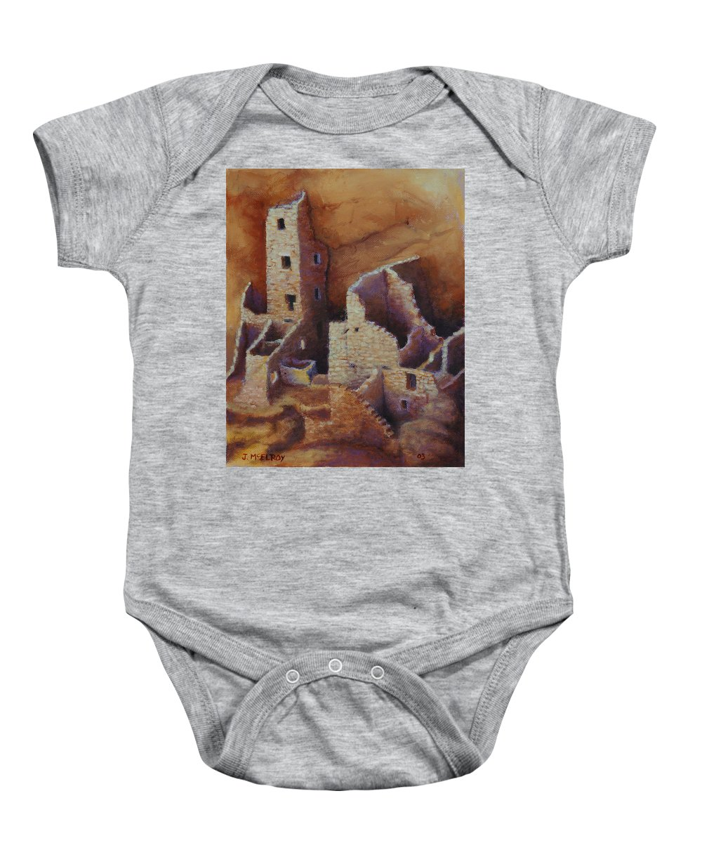 Anasazi Baby Onesie featuring the painting Square Tower Ruins by Jerry McElroy