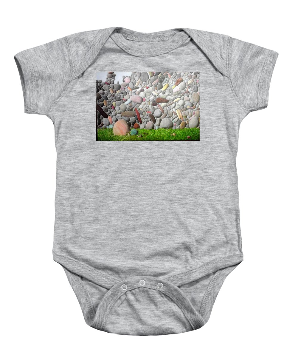 Stones Baby Onesie featuring the painting Stoned Wall by A Robert Malcom