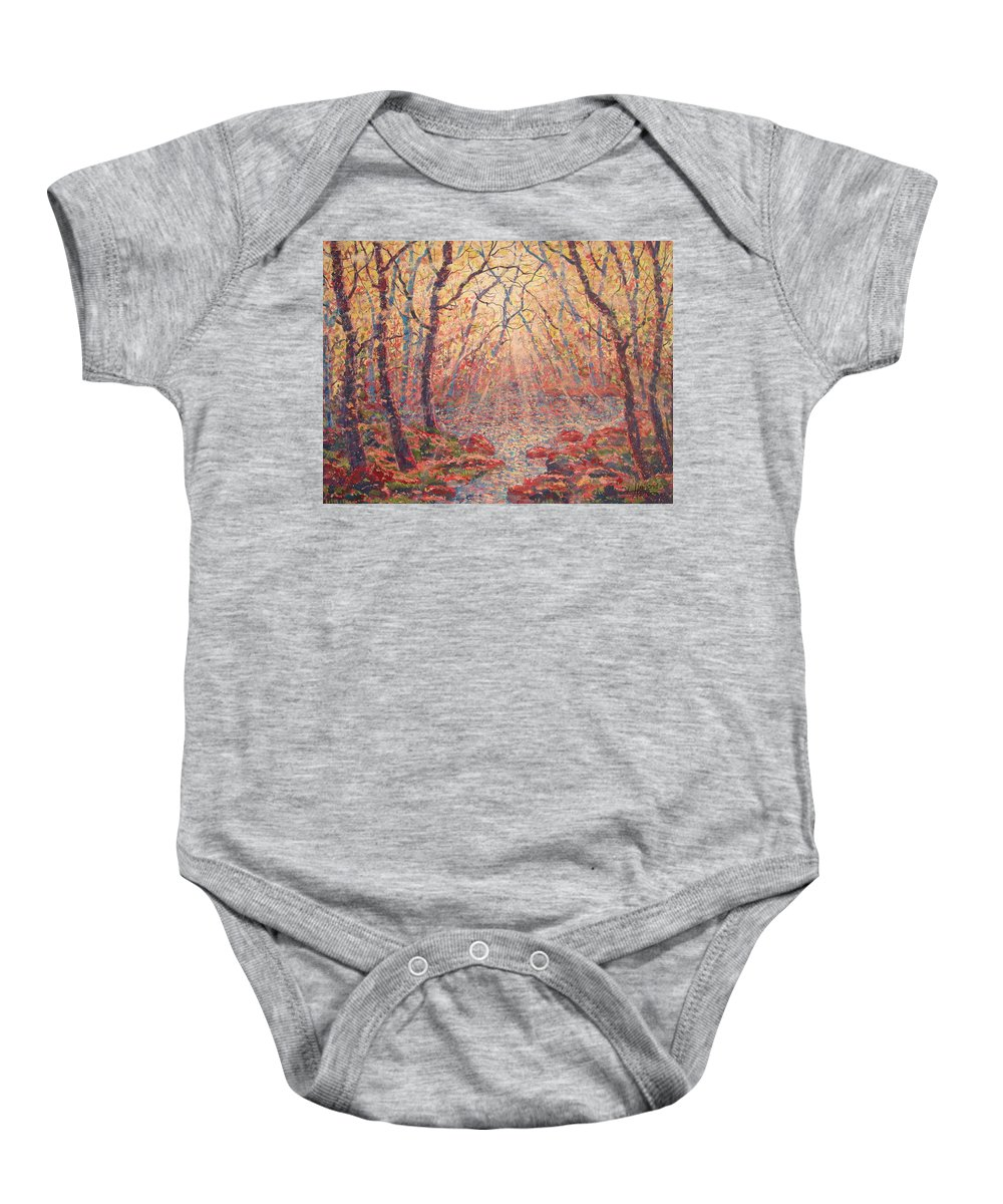 Painting Baby Onesie featuring the painting Sun Rays Through The Trees. by Leonard Holland