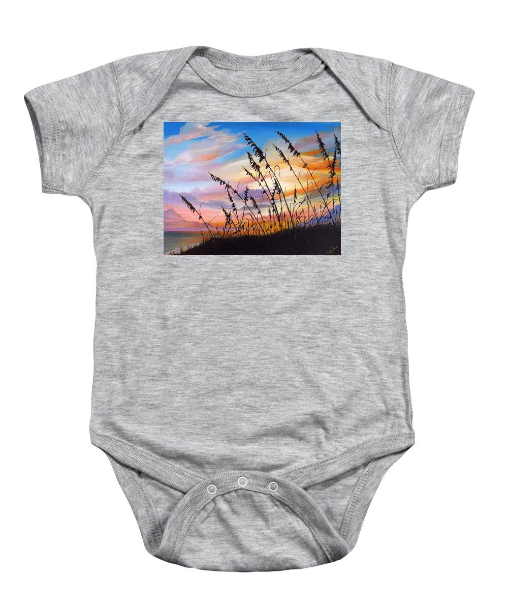 Ocean Painting Baby Onesie featuring the painting Sunset Fort Desoto Beach by Karin Dawn Kelshall- Best