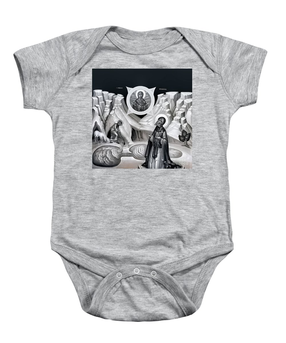 Bethlehem Baby Onesie featuring the photograph The Prayer to Virgin Mary by Munir Alawi
