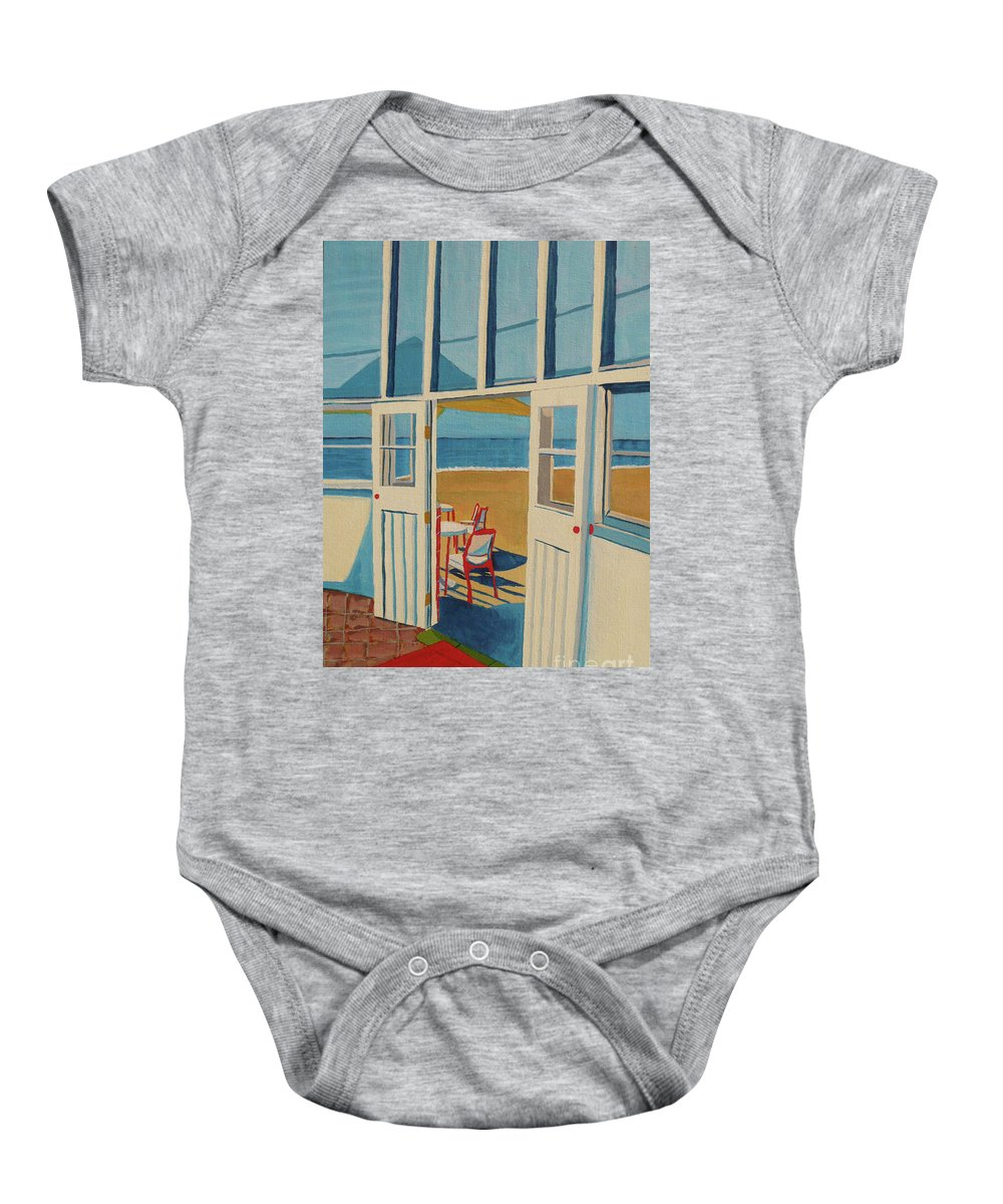 Cafe Baby Onesie featuring the painting The Seaview Cafe by Anthony Dunphy