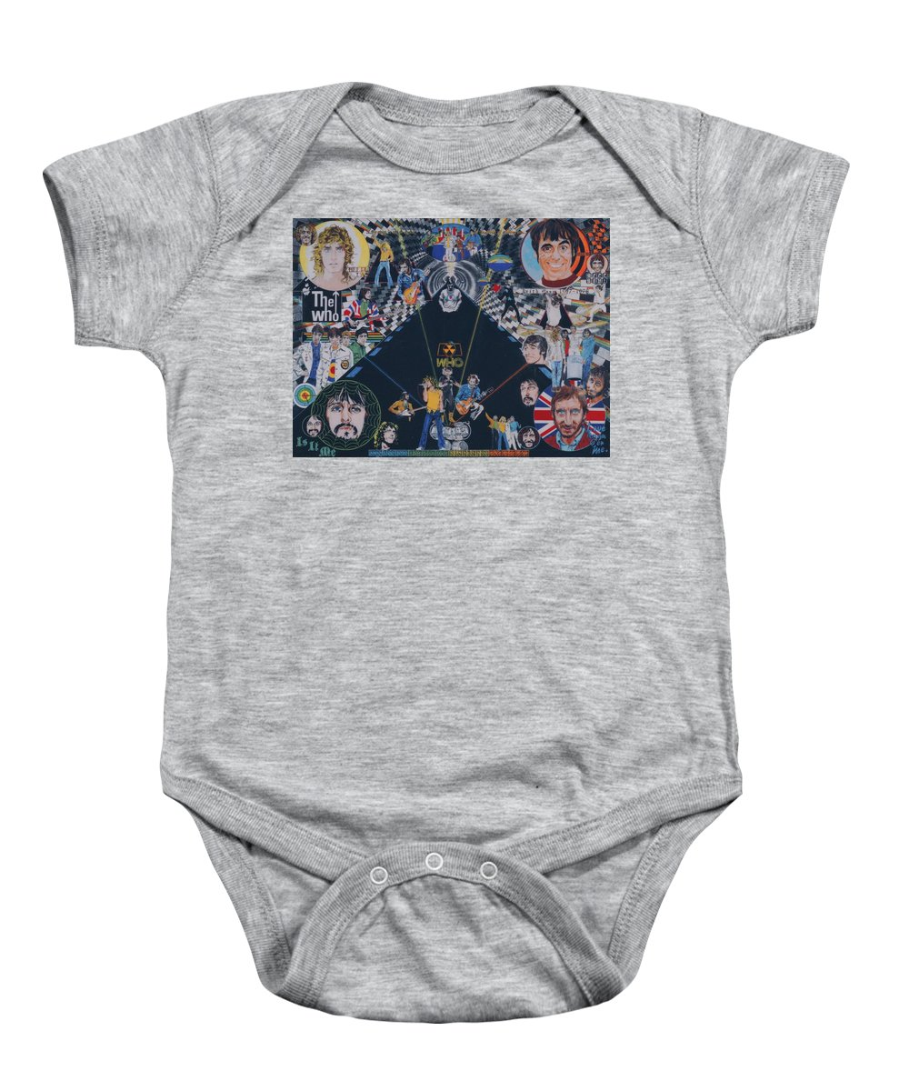 Montage Baby Onesie featuring the drawing The Who - Quadrophenia by Sean Connolly