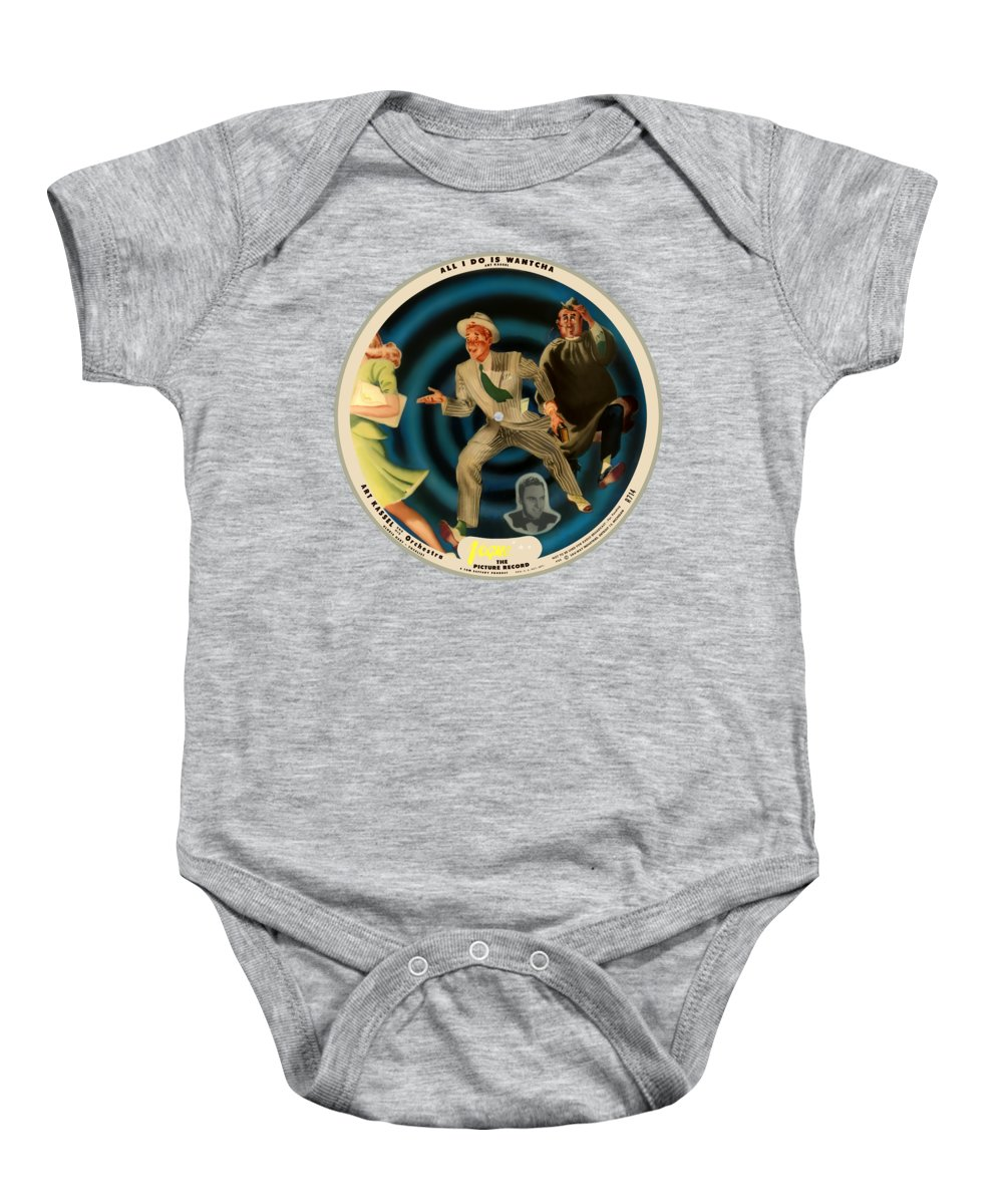 Vogue Picture Record Baby Onesie featuring the digital art Vogue Record Art - R 714 - P 22, Yellow Logo - Square Version by John Robert Beck