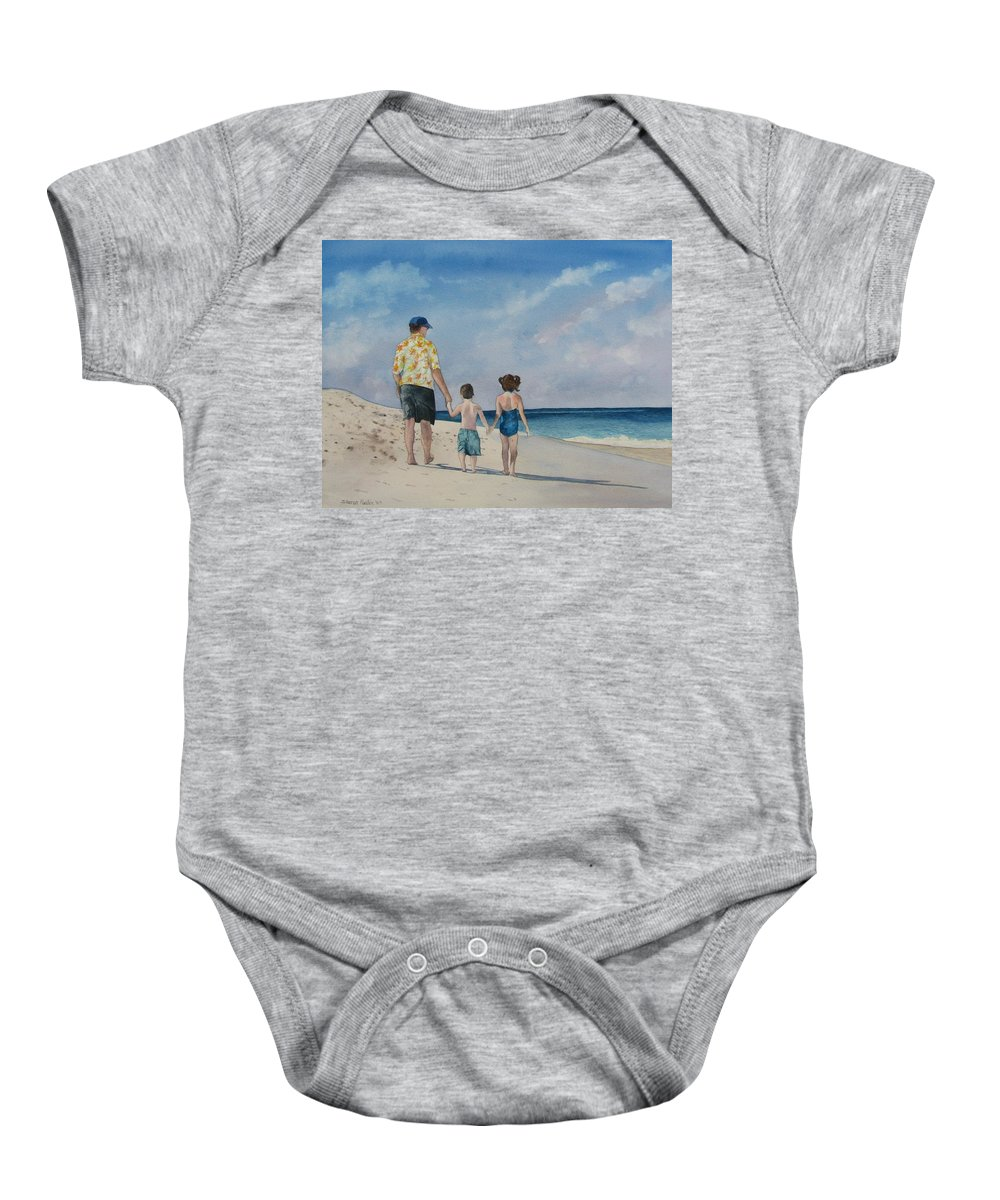 Landscape Baby Onesie featuring the painting Walk on the Beach by Sharon Farber