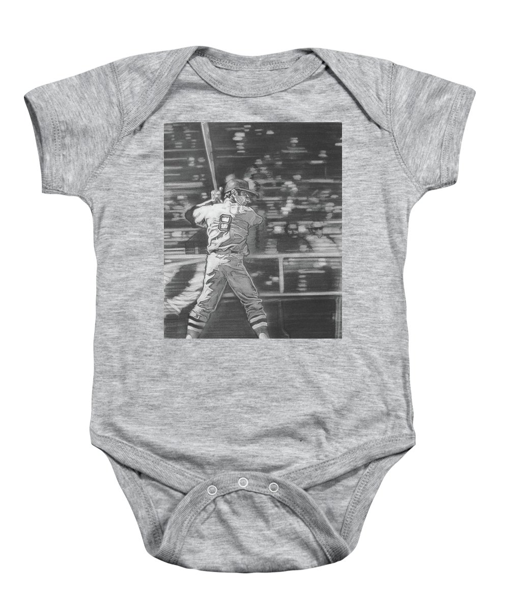 Charcoal On Paper Baby Onesie featuring the drawing Yaz - Carl Yastrzemski by Sean Connolly
