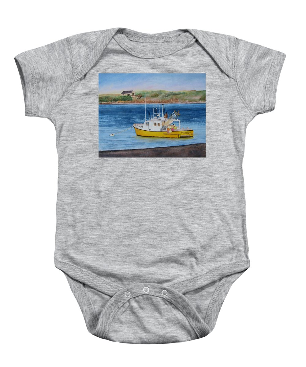 Landscape Baby Onesie featuring the painting Yellow Bird by Sharon Farber