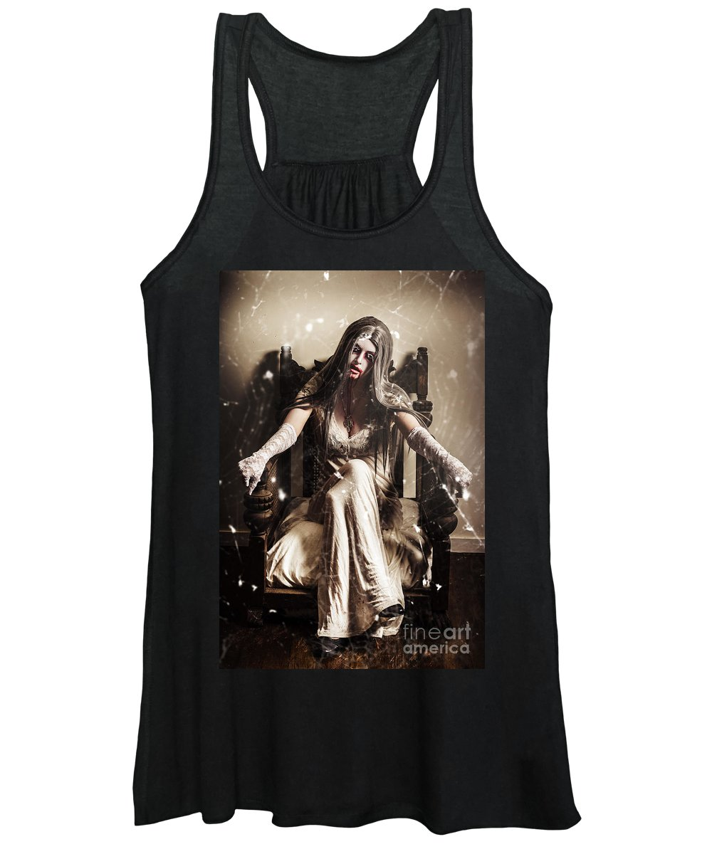 Evil Women's Tank Top featuring the photograph Haunting Horror Scene With A Strange Vampire Girl by Jorgo Photography - Wall Art Gallery