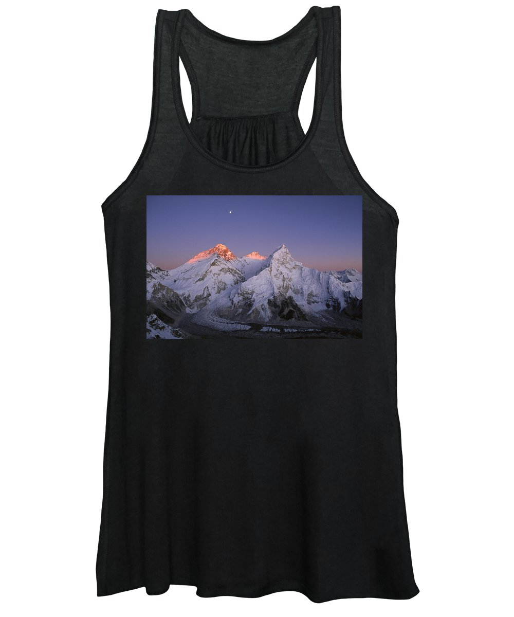 Feb0514 Women's Tank Top featuring the photograph Moon Over Mount Everest Summit by Grant Dixon