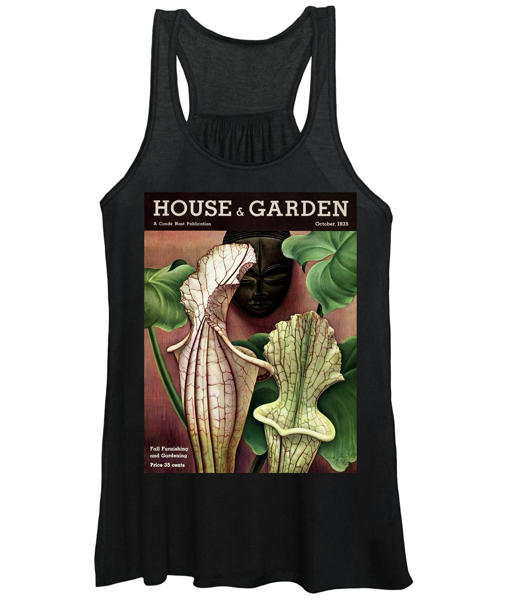 Photograph Women's Tank Top featuring the photograph A Tropical Flower And An African Mask by Edna Reindel