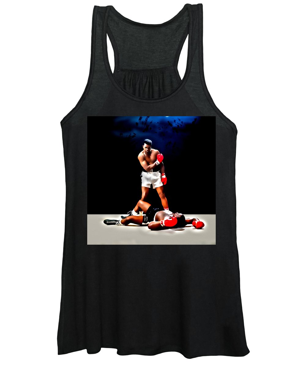 Muhammad Ali Women's Tank Top featuring the digital art Muhammad Ali Get Up And Fight Sucker by Brian Reaves