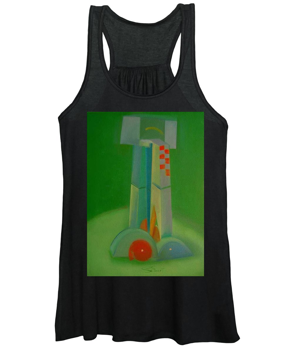 Cubist View Of Figure Women's Tank Top featuring the painting Survivors by Charles Stuart