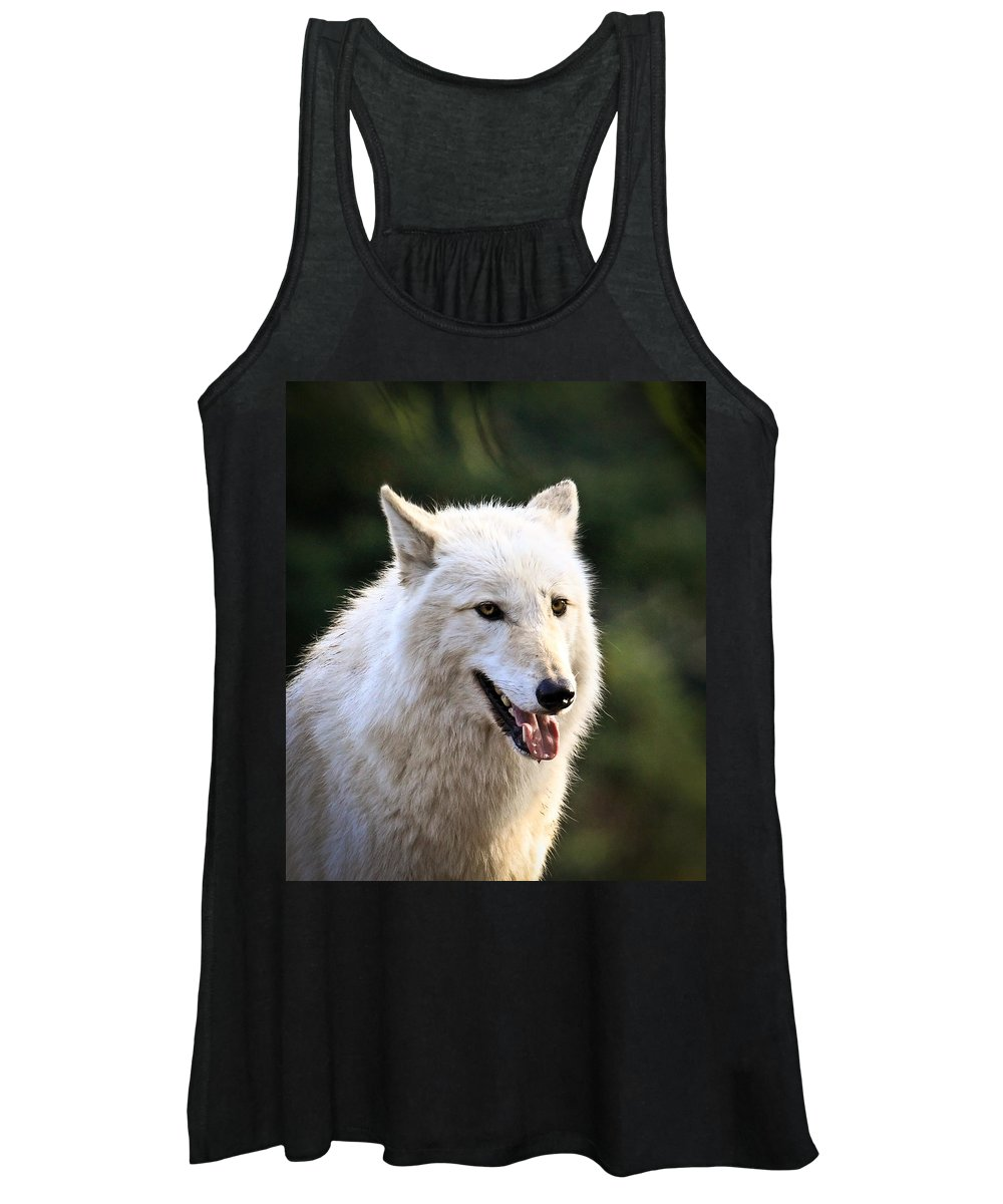 Wolf Art Women's Tank Top featuring the photograph White Wolf Pant by Steve McKinzie