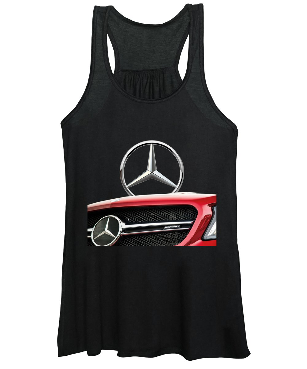 'auto Badges' By Serge Averbukh Women's Tank Top featuring the photograph Red Mercedes - Front Grill Ornament And 3 D Badge On Black by Serge Averbukh