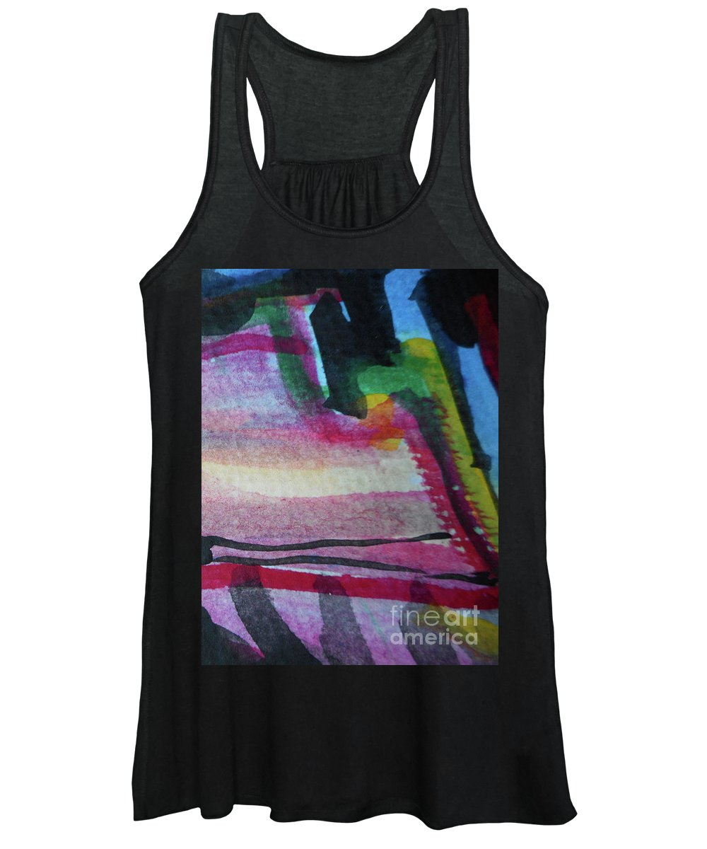 Katerina Stamatelos Women's Tank Top featuring the painting Abstract-25 by Katerina Stamatelos