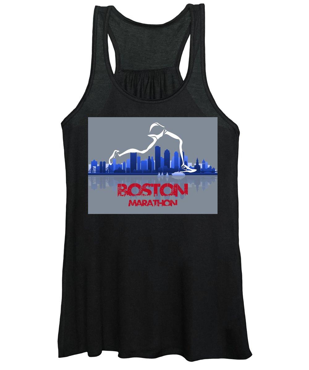 Runner Women's Tank Top featuring the mixed media Boston Marathon 3a Running Runner by Joe Hamilton