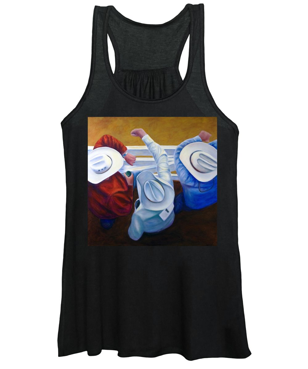 Western Women's Tank Top featuring the painting Bull Chute by Shannon Grissom