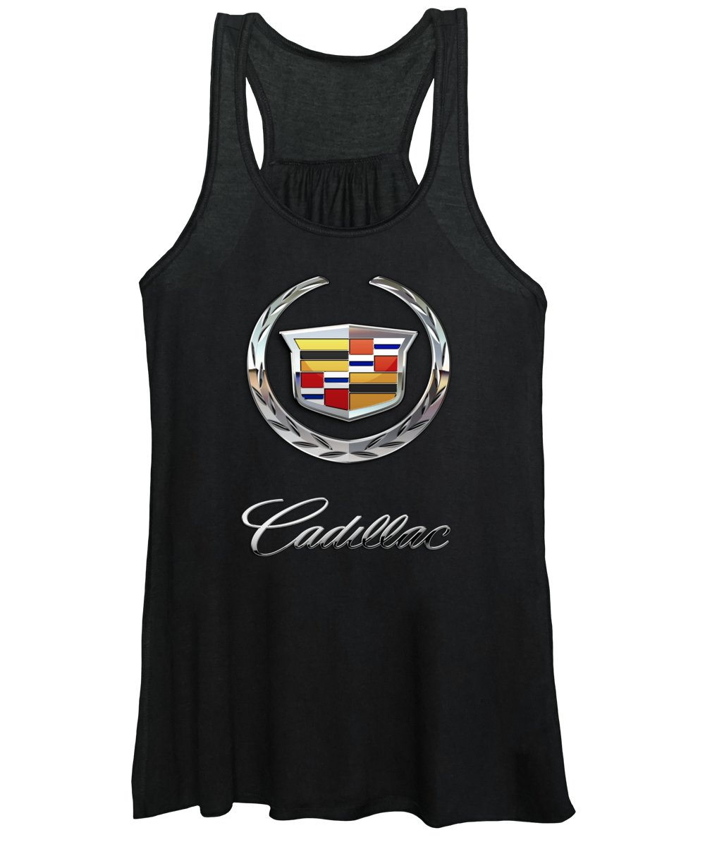 'wheels Of Fortune' By Serge Averbukh Women's Tank Top featuring the photograph Cadillac - 3 D Badge On Black by Serge Averbukh