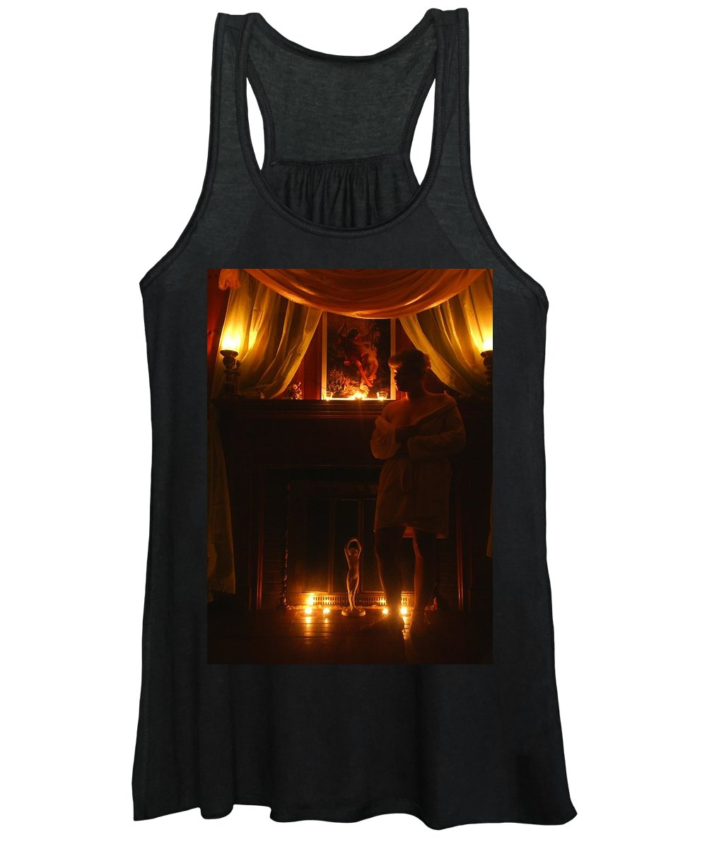 Woman Women's Tank Top featuring the photograph Candlelight Glow by Scarlett Royal