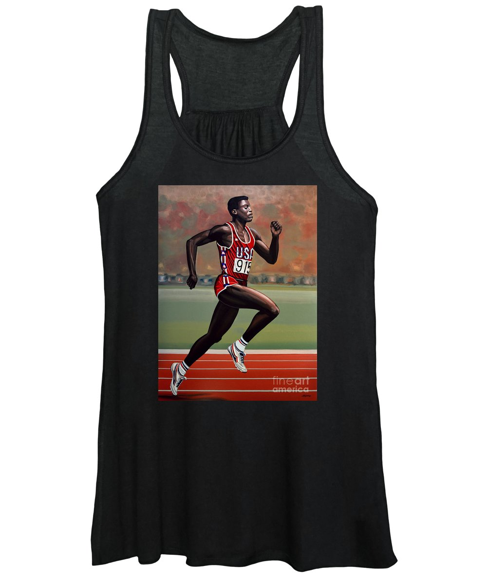 Carl Lewis Women's Tank Top featuring the painting Carl Lewis by Paul Meijering