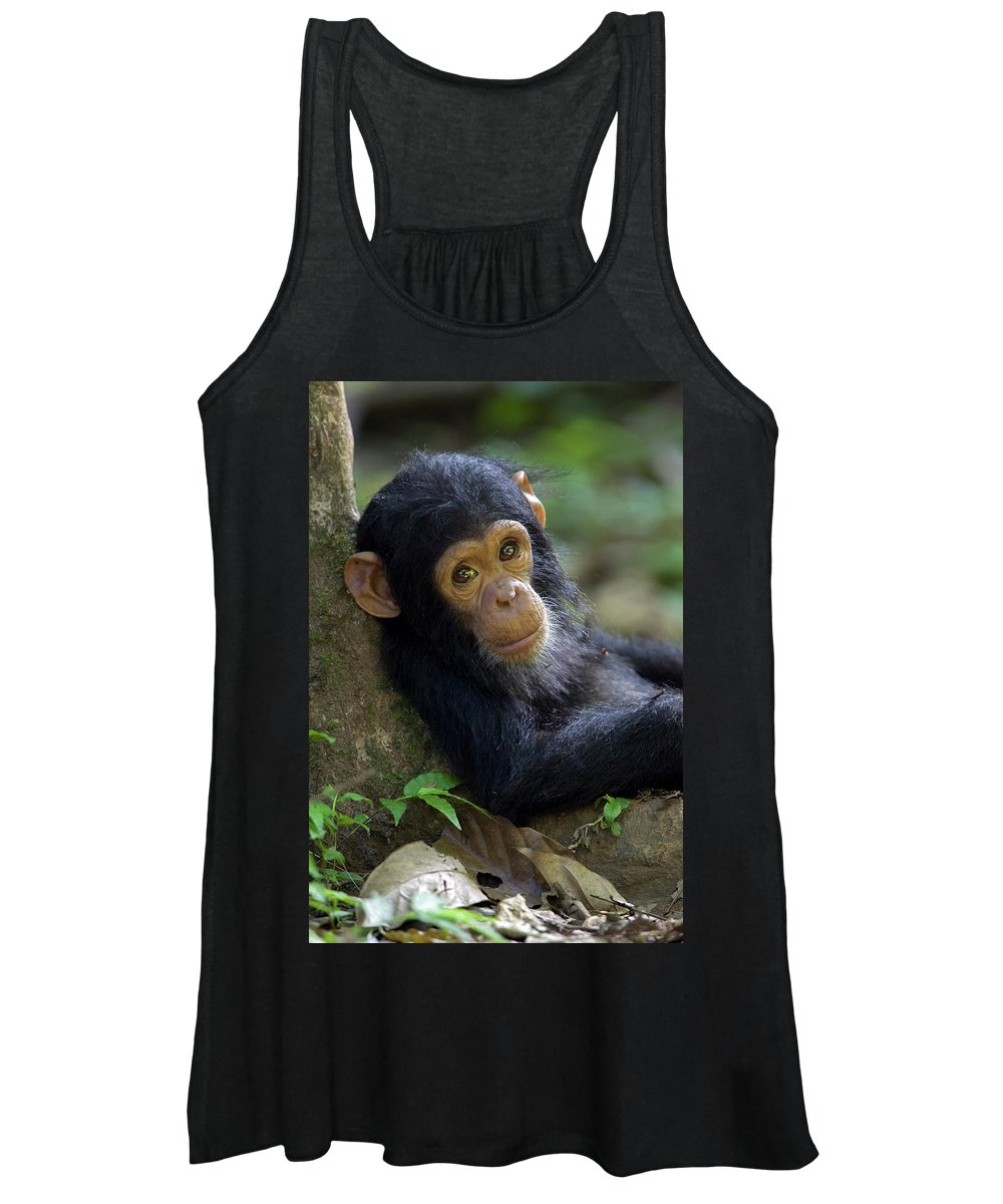 Mp Women's Tank Top featuring the photograph Chimpanzee Pan Troglodytes Baby Leaning by Ingo Arndt