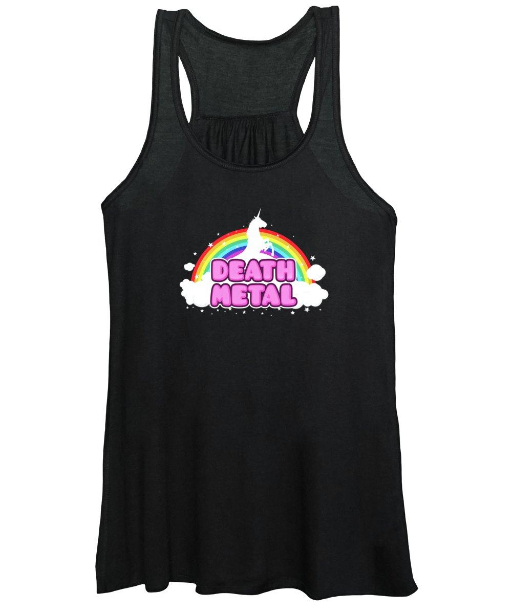 Music Women's Tank Top featuring the digital art DEATH METAL Funny Unicorn Rainbow Mosh Parody Design by Philipp Rietz