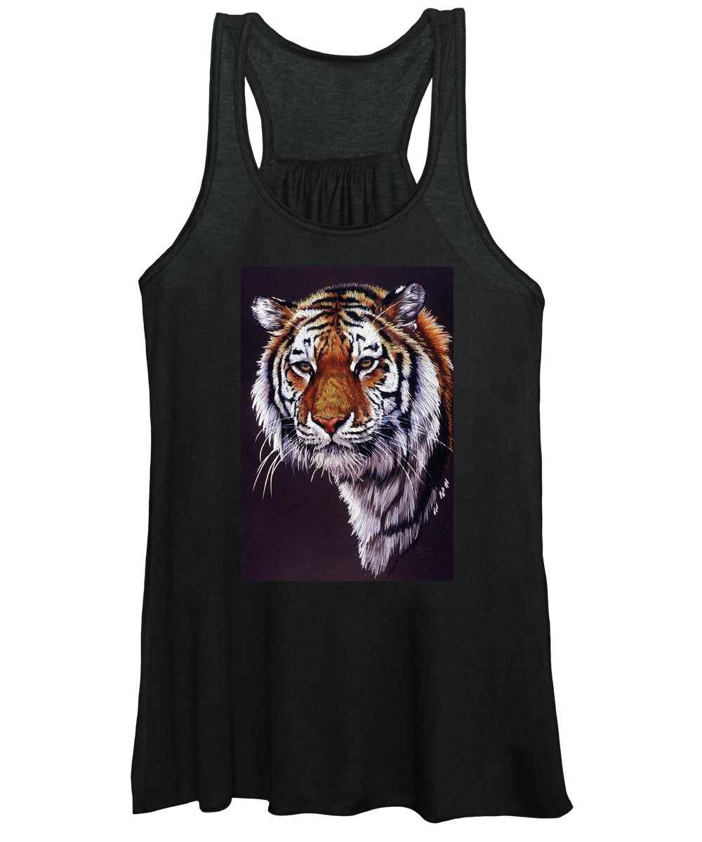 Tiger Women's Tank Top featuring the drawing Desperado by Barbara Keith