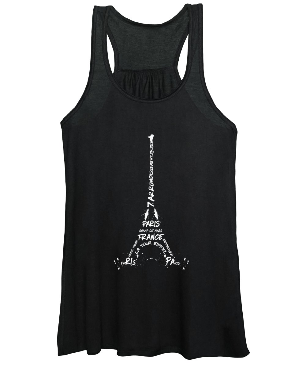 Paris Women's Tank Top featuring the digital art Digital-art Eiffel Tower - Panoramic by Melanie Viola