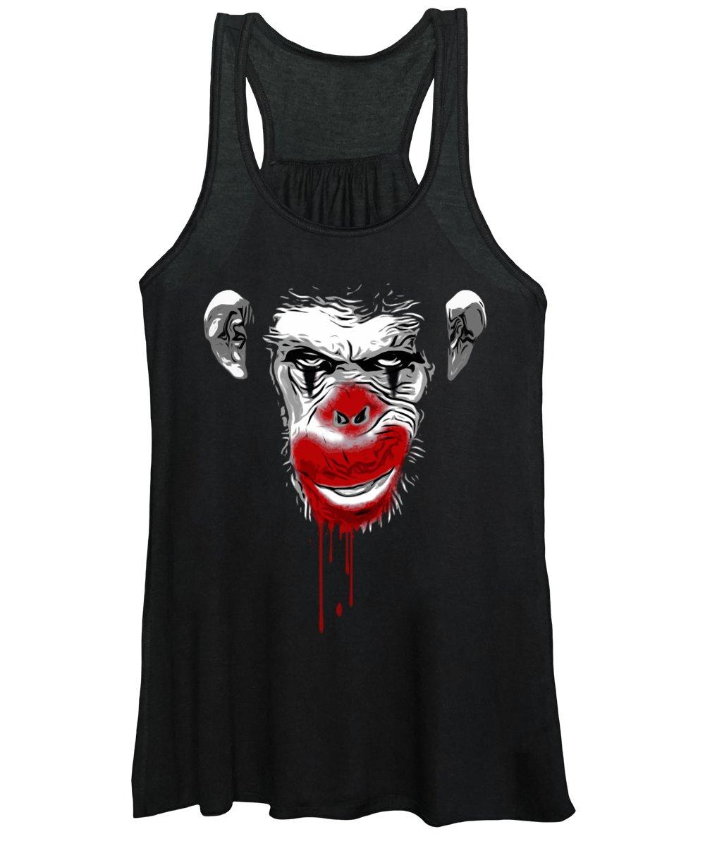 Monkey Women's Tank Top featuring the digital art Evil Monkey Clown by Nicklas Gustafsson
