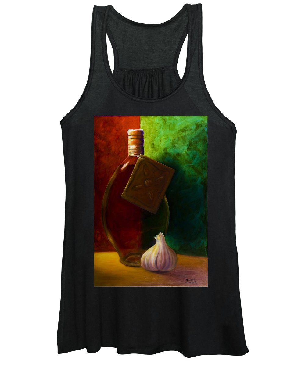 Shannon Grissom Women's Tank Top featuring the painting Garlic And Oil by Shannon Grissom