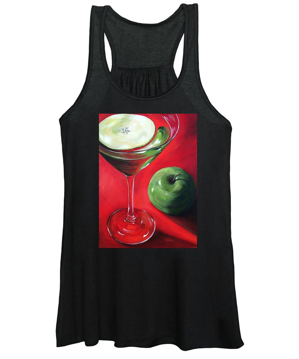 Martini Women's Tank Top featuring the painting Green Apple Martini by Torrie Smiley