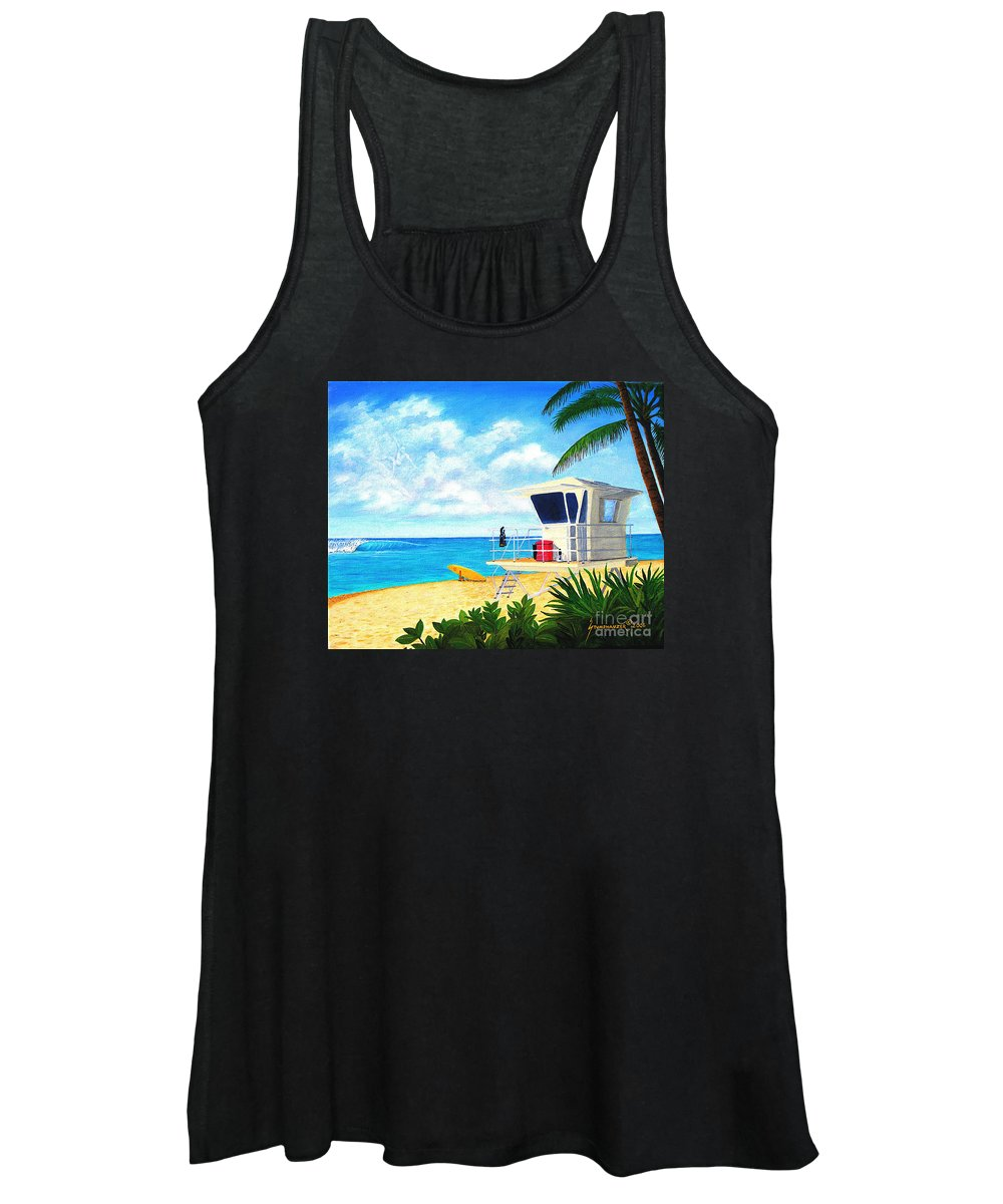 Hawaii Women's Tank Top featuring the painting Hawaii North Shore Banzai Pipeline by Jerome Stumphauzer