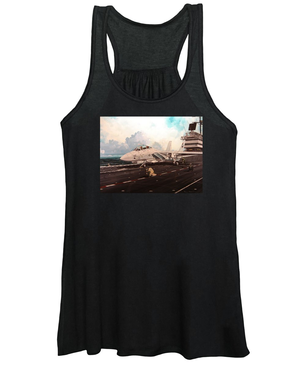 Military Women's Tank Top featuring the painting Launch The Alert 5 by Marc Stewart