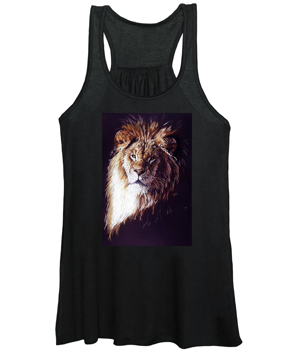 Lion Women's Tank Top featuring the drawing Maestro by Barbara Keith