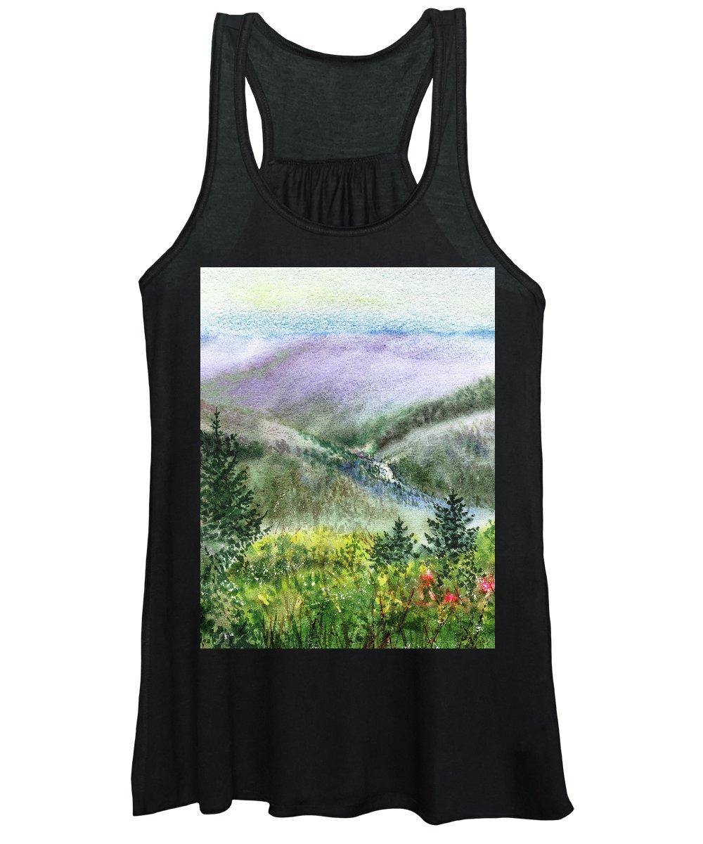 Mountain Creek Women's Tank Top featuring the painting Mountain Creek And Baby Redwood Trees by Irina Sztukowski
