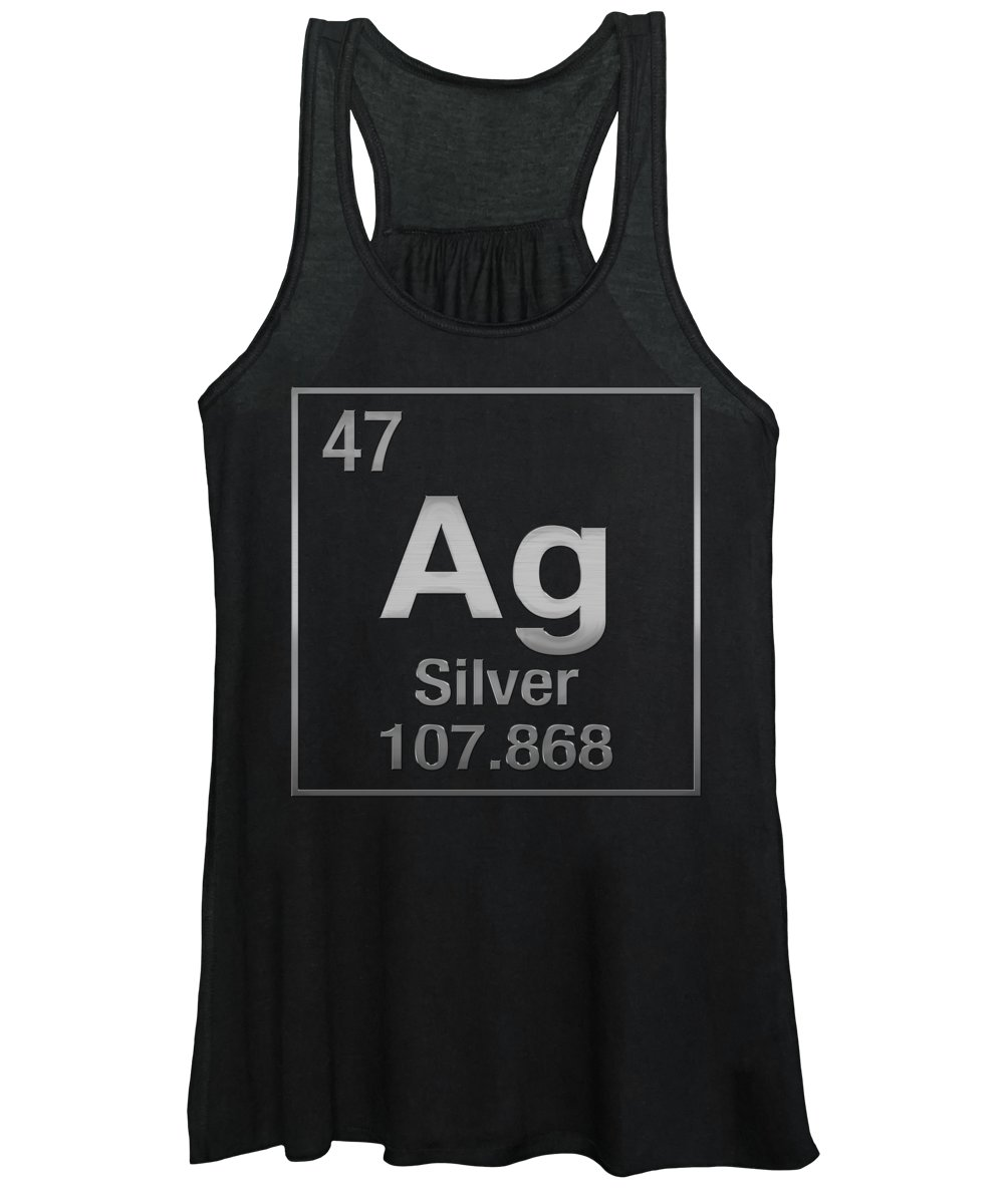 'the Elements' Collection By Serge Averbukh Women's Tank Top featuring the digital art Periodic Table Of Elements - Silver - Ag - Silver On Black by Serge Averbukh