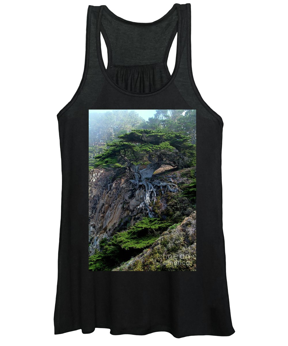 Landscape Women's Tank Top featuring the photograph Point Lobos Veteran Cypress Tree by Charlene Mitchell
