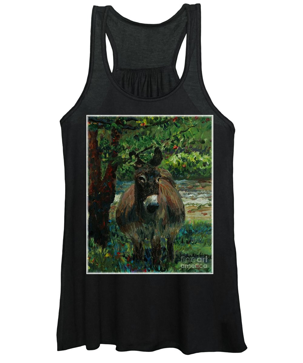 Donkey Women's Tank Top featuring the painting Provence Donkey by Nadine Rippelmeyer