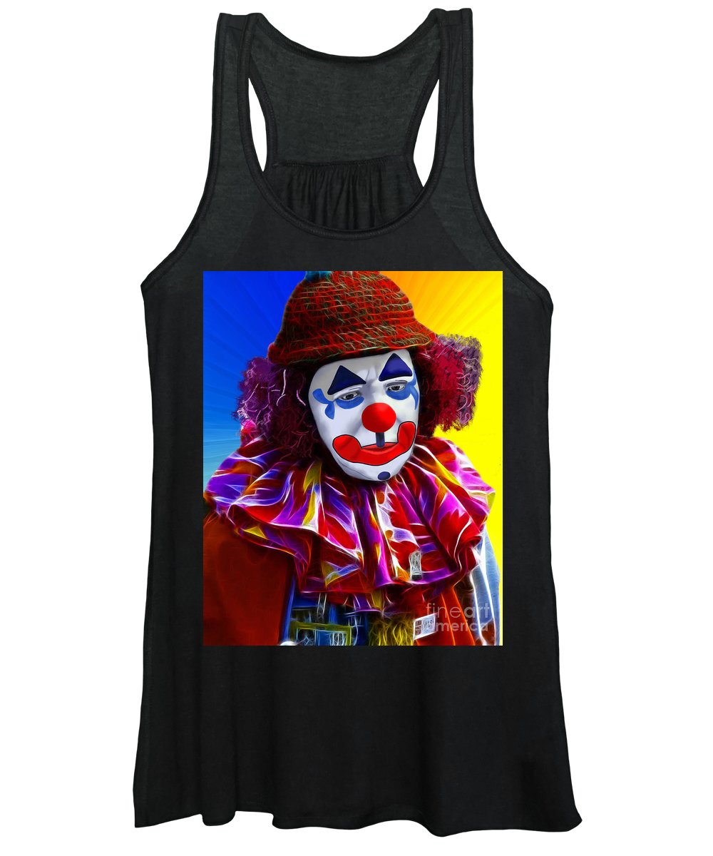 Sad Clown Women's Tank Top featuring the painting Sad Clown by Methune Hively