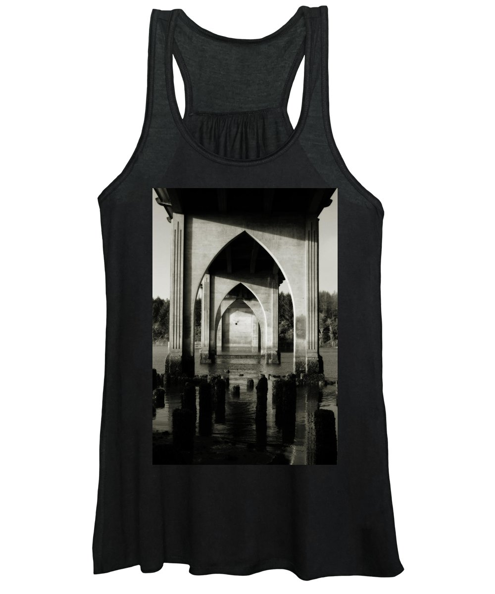 Oregon Women's Tank Top featuring the photograph Suislaw River Bridge in Florence Oregon by Renee Cline