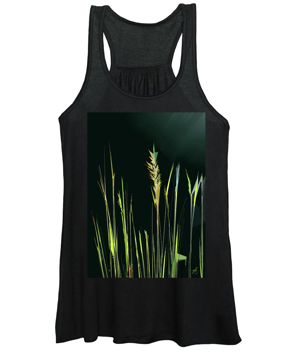 Grasses Women's Tank Top featuring the digital art Sunlit Grasses by Gina Harrison