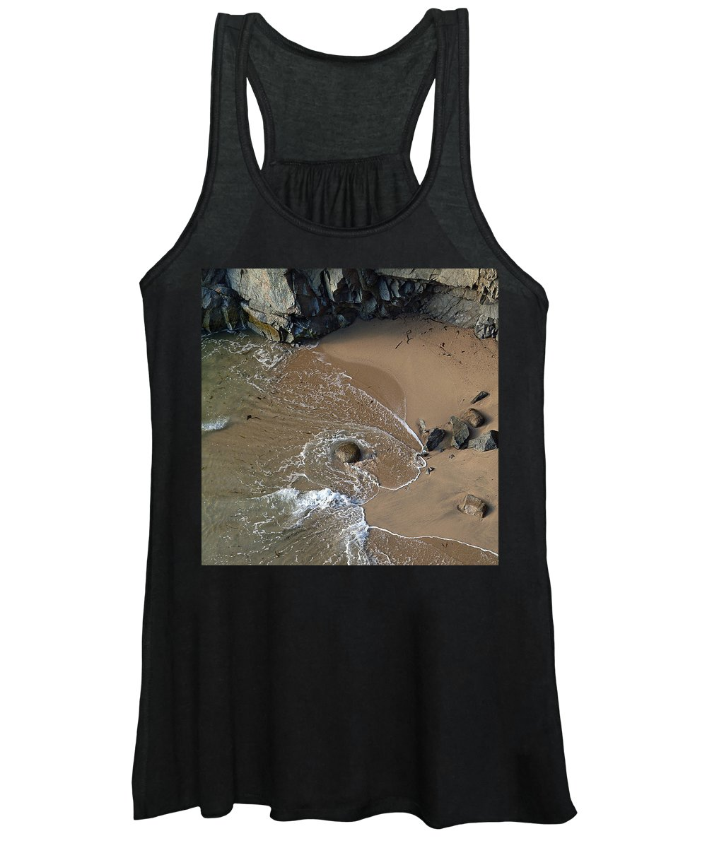 Big Sur Women's Tank Top featuring the photograph Swirling Surf And Rocks by Charlene Mitchell
