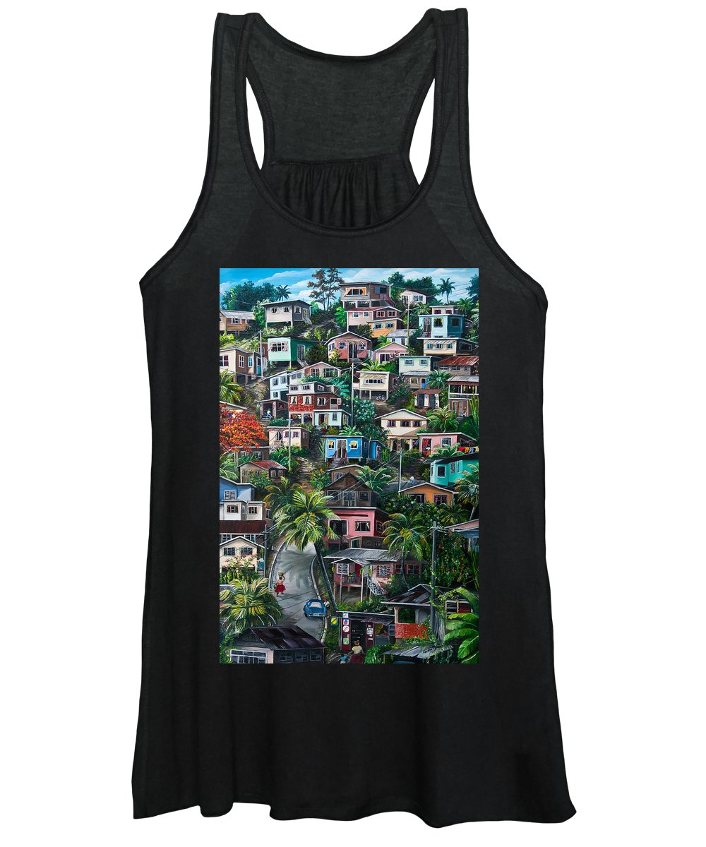 Landscape Painting Cityscape Painting Houses Painting Hill Painting Lavantille Port Of Spain Painting Trinidad And Tobago Painting Caribbean Painting Tropical Painting Caribbean Painting Original Painting Greeting Card Painting Women's Tank Top featuring the painting THE HILL   Trinidad by Karin Dawn Kelshall- Best