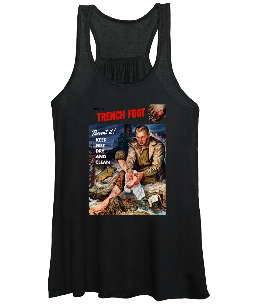 World War Two Women's Tank Top featuring the painting This Is Trench Foot - Prevent It by War Is Hell Store