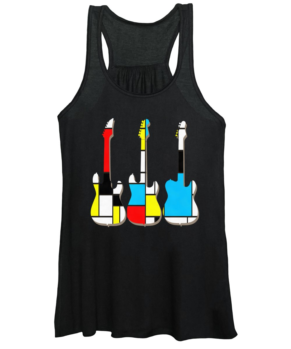 Guitars Women's Tank Top featuring the painting Three Guitars Modern Tee by Edward Fielding