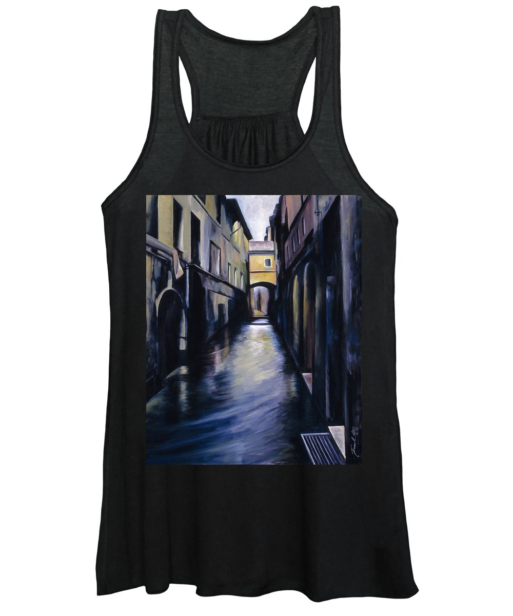 Street; Canal; Venice ; Desert; Abandoned; Delapidated; Lost; Highway; Route 66; Road; Vacancy; Run-down; Building; Old Signage; Nastalgia; Vintage; James Christopher Hill; Jameshillgallery.com; Foliage; Sky; Realism; Oils Women's Tank Top featuring the painting Venice by James Christopher Hill