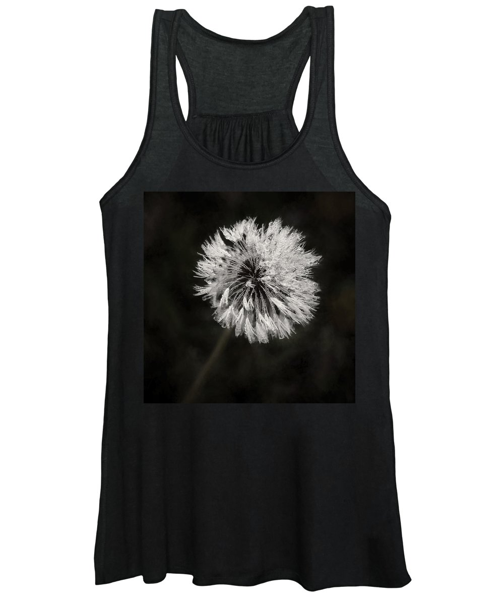 Dandelion Flower Women's Tank Top featuring the photograph Water Drops On Dandelion Flower by Scott Norris