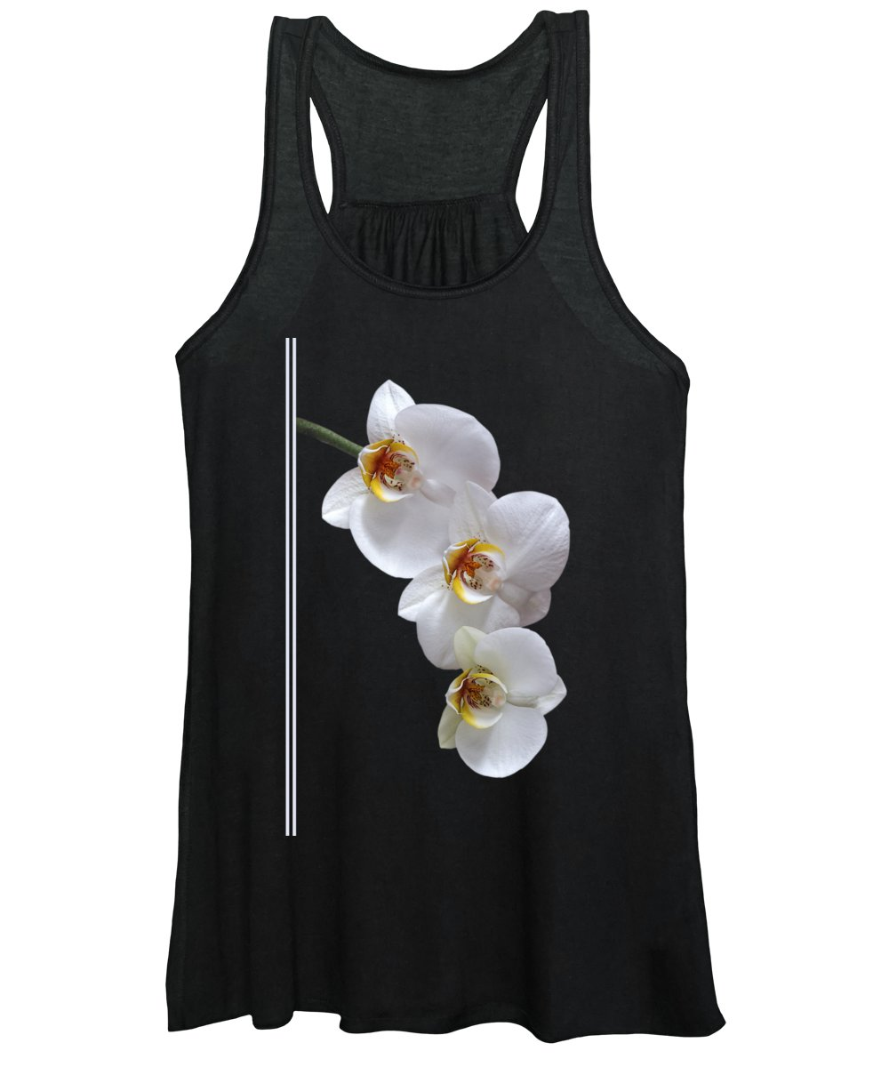 Soft White Orchid Women's Tank Top featuring the photograph White Orchids On Black Vertical by Gill Billington